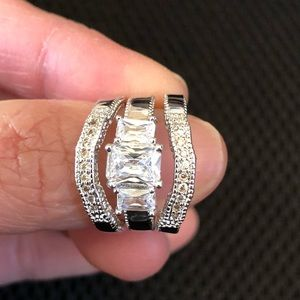 Jewelry - 3-pc 18K White Gold Plated Wedding Ring Set
